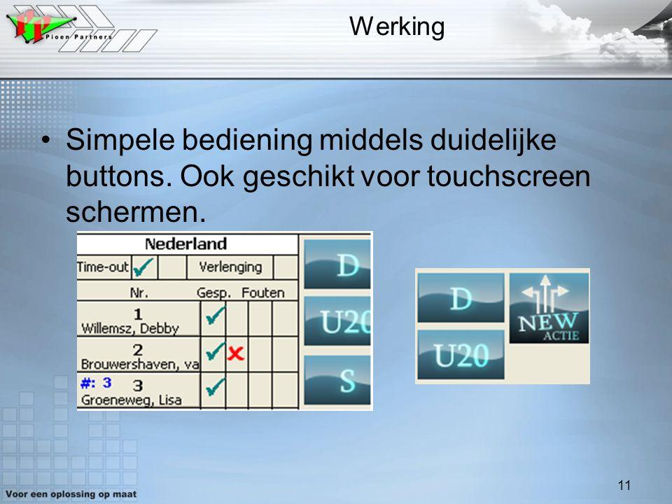 11 Werking Simpele bediening middels duidelijke buttons. Ook geschikt voor touchscreen schermen.