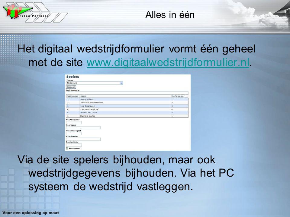 3 Alles in één Het digitaal wedstrijdformulier vormt één geheel met de site www.digitaalwedstrijdformulier.nl.www.digitaalwedstrijdformulier.nl Via de
