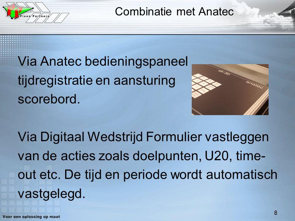 8 Combinatie met Anatec Via Anatec bedieningspaneel tijdregistratie en aansturing scorebord. Via Digitaal Wedstrijd Formulier vastleggen van de acties