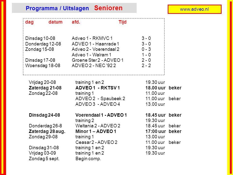 www.adveo.nl dag datumafd. Tijd Dinsdag 10-08Adveo 1 - RKMVC 1 3 - 0 Donderdag 12-08ADVEO 1 - Haanrade 1 3 - 0 Zondag 15-08Adveo 2 - Voerendaal 2 0 -