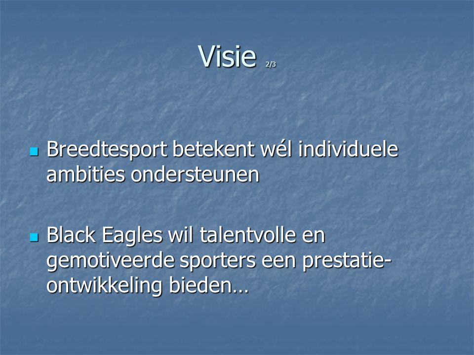 Visie 2/3 Breedtesport betekent wél individuele ambities ondersteunen Breedtesport betekent wél individuele ambities ondersteunen Black Eagles wil tal