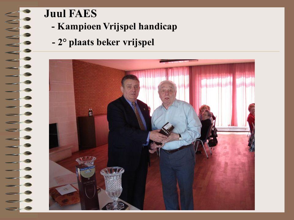 Juul FAES - Kampioen Vrijspel handicap - 2° plaats beker vrijspel