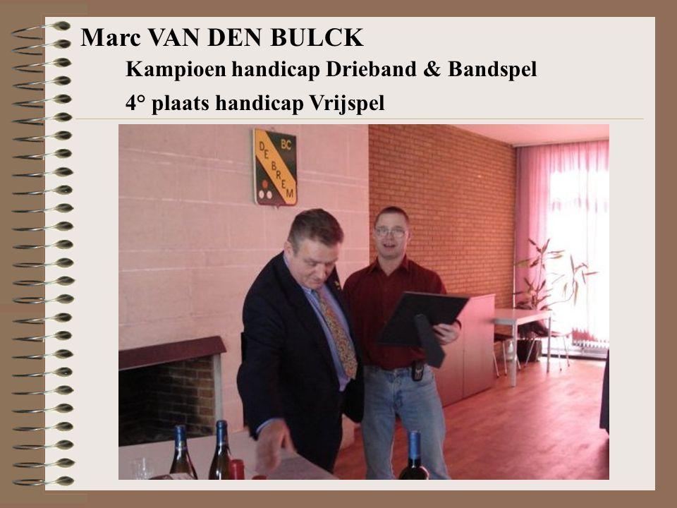 Marc VAN DEN BULCK Kampioen handicap Drieband & Bandspel 4° plaats handicap Vrijspel