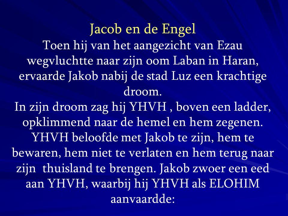 De ELOHIM van het huis van ELOHIM GENESIS 31:11-13 En de Engel Gods [Mal ak HaElohim] zeide tot mij in de droom: Jacob. En ik zeide: Hier ben ik. En Hij zeide: Sla toch uw ogen op en zie toe: al de bokken die het kleinvee bespringen, zijn gestreept, gespikkeld en gevlekt, want Ik heb gezien alles wat Laban u aandoet.