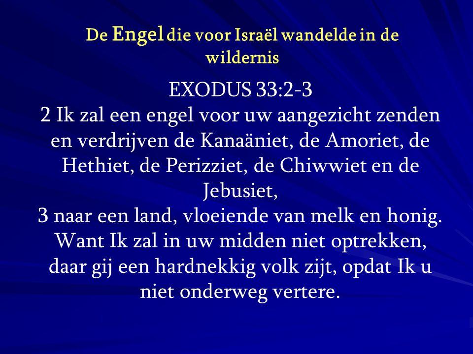 EXODUS 33:2-3 2 Ik zal een engel voor uw aangezicht zenden en verdrijven de Kanaäniet, de Amoriet, de Hethiet, de Perizziet, de Chiwwiet en de Jebusie