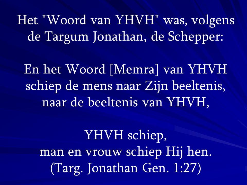 En het Woord [Memra] van YHVH zeide to Moses: Ik ben degene die tegen de wereld zei: Wees! en ze was: en die er in de toekomst tegen zal zeggen: Wees en het zal zijn.