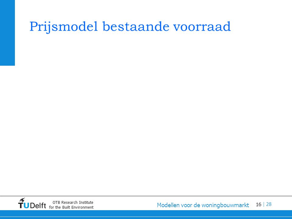 16 Modellen voor de woningbouwmarkt | 28 OTB Research Institute for the Built Environment Prijsmodel bestaande voorraad