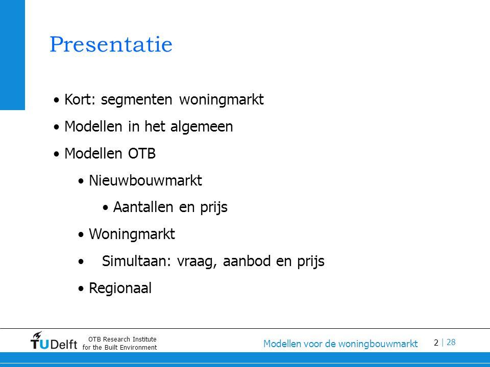 13 Modellen voor de woningbouwmarkt | 28 OTB Research Institute for the Built Environment Modelleren vraag en aanbod