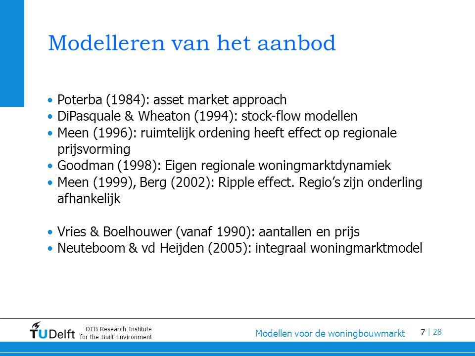 7 Modellen voor de woningbouwmarkt | 28 OTB Research Institute for the Built Environment Modelleren van het aanbod Poterba (1984): asset market approach DiPasquale & Wheaton (1994): stock-flow modellen Meen (1996): ruimtelijk ordening heeft effect op regionale prijsvorming Goodman (1998): Eigen regionale woningmarktdynamiek Meen (1999), Berg (2002): Ripple effect.