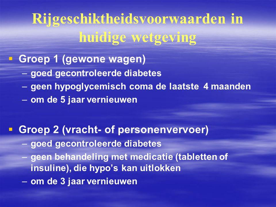 Rijgeschiktheidsvoorwaarden in huidige wetgeving   Groep 1 (gewone wagen) – –goed gecontroleerde diabetes – –geen hypoglycemisch coma de laatste 4 m