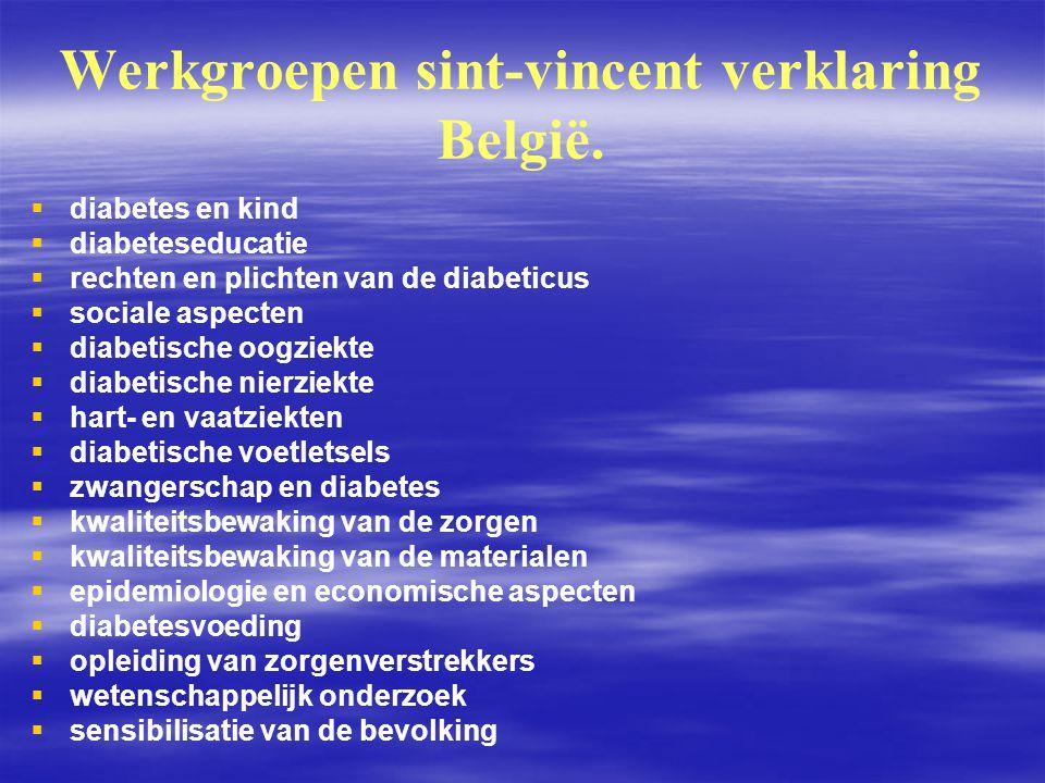 Werkgroepen sint-vincent verklaring België.   diabetes en kind   diabeteseducatie   rechten en plichten van de diabeticus   sociale aspecten 