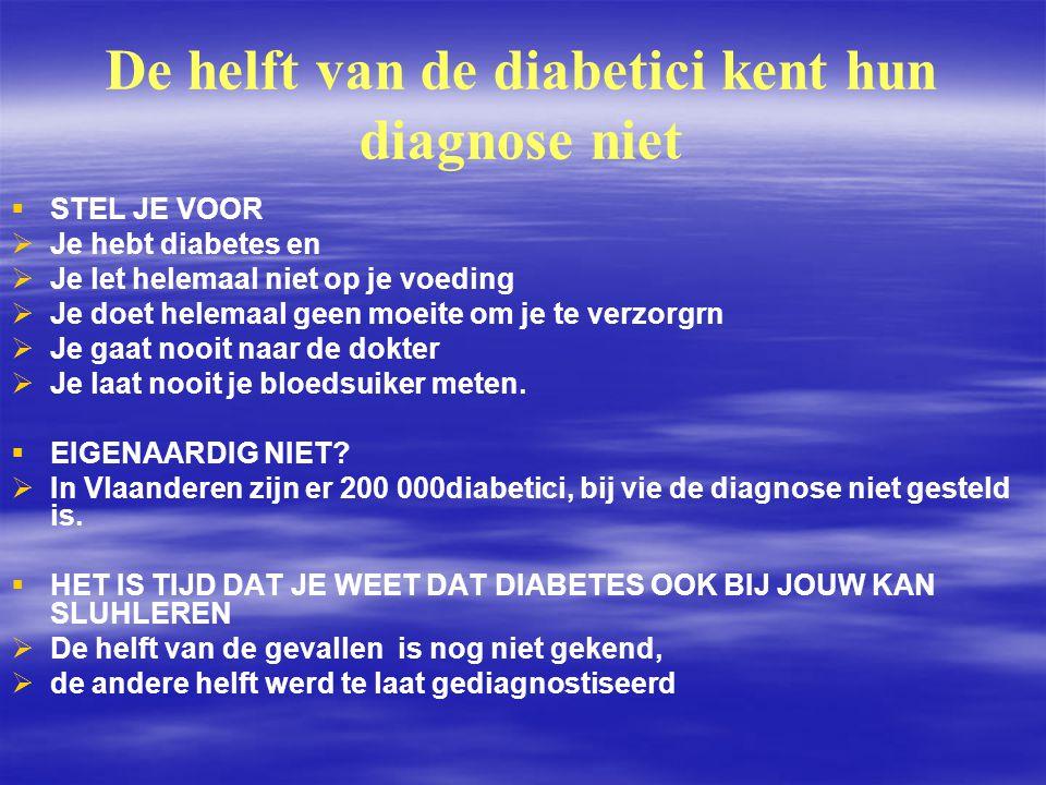 De helft van de diabetici kent hun diagnose niet   STEL JE VOOR   Je hebt diabetes en   Je let helemaal niet op je voeding   Je doet helemaal