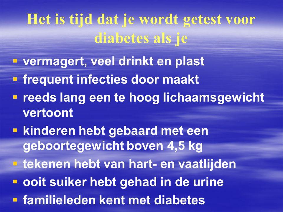 Het is tijd dat je wordt getest voor diabetes als je   vermagert, veel drinkt en plast   frequent infecties door maakt   reeds lang een te hoog