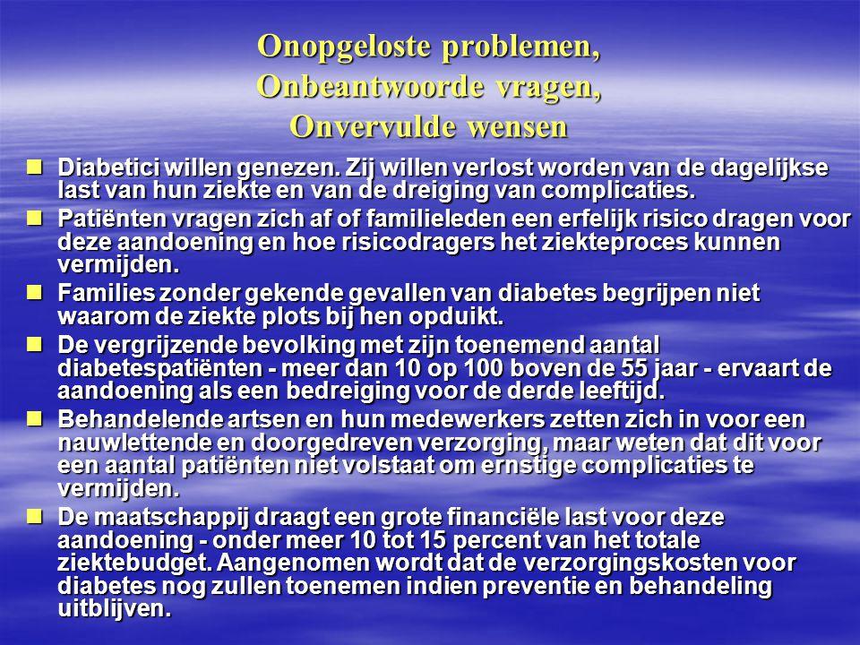 Onopgeloste problemen, Onbeantwoorde vragen, Onvervulde wensen Diabetici willen genezen. Zij willen verlost worden van de dagelijkse last van hun ziek