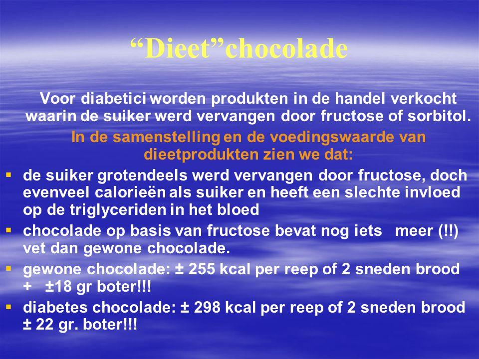 """""""Dieet""""chocolade   Voor diabetici worden produkten in de handel verkocht waarin de suiker werd vervangen door fructose of sorbitol.   In de samens"""