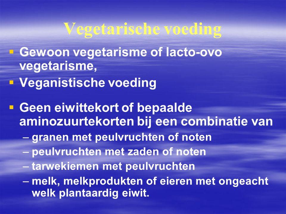 Vegetarische voeding   Gewoon vegetarisme of lacto ‑ ovo vegetarisme,   Veganistische voeding   Geen eiwittekort of bepaalde aminozuurtekorten b