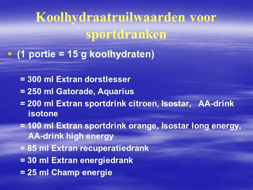 Koolhydraatruilwaarden voor sportdranken   (1 portie = 15 g koolhydraten) = 300 ml Extran dorstlesser = 250 ml Gatorade, Aquarius = 200 ml Extran sp