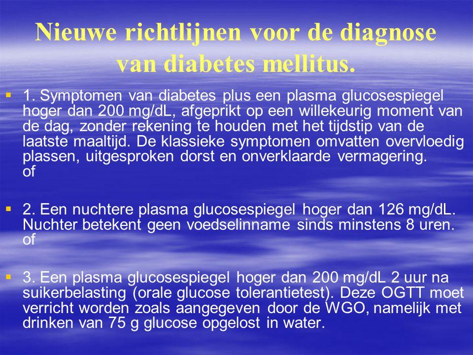 Nieuwe richtlijnen voor de diagnose van diabetes mellitus.   1. Symptomen van diabetes plus een plasma glucosespiegel hoger dan 200 mg/dL, afgeprikt