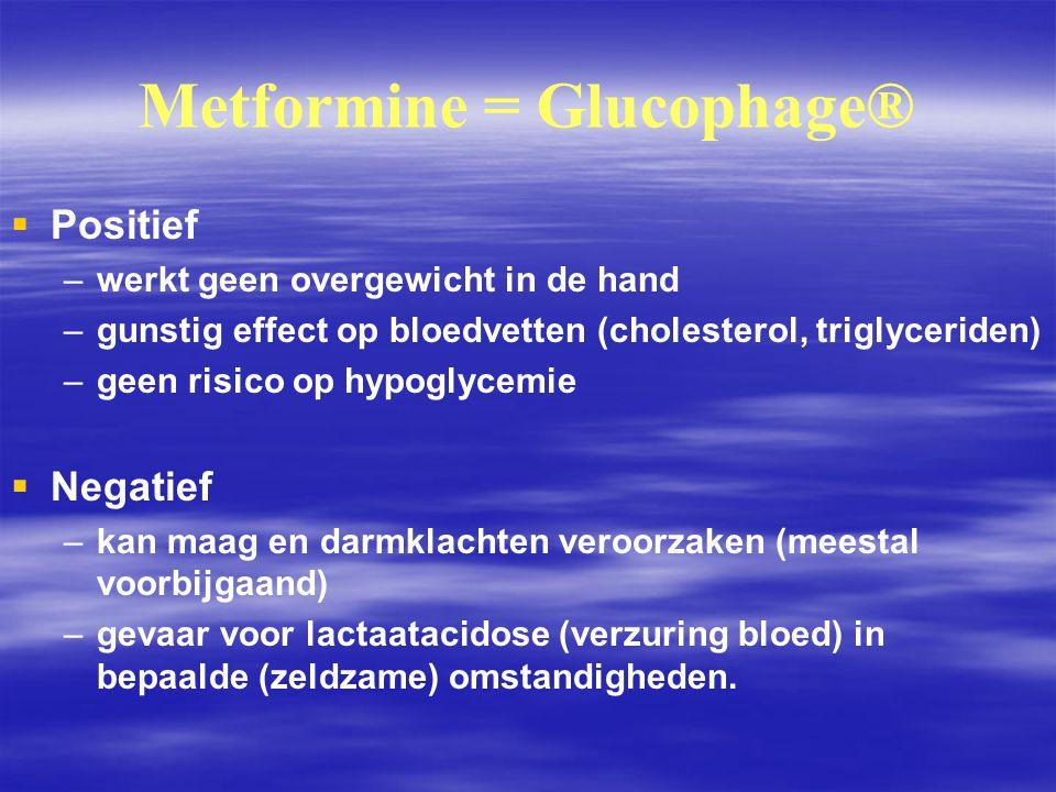Metformine = Glucophage®   Positief – –werkt geen overgewicht in de hand – –gunstig effect op bloedvetten (cholesterol, triglyceriden) – –geen risic