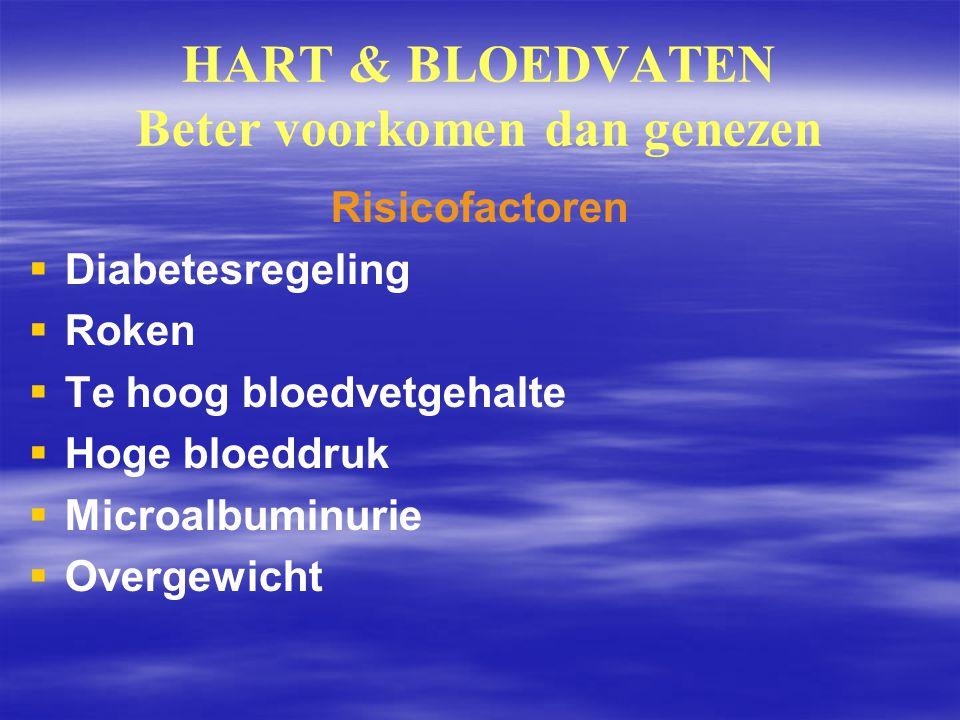 HART & BLOEDVATEN Beter voorkomen dan genezen Risicofactoren   Diabetesregeling   Roken   Te hoog bloedvetgehalte   Hoge bloeddruk   Microal