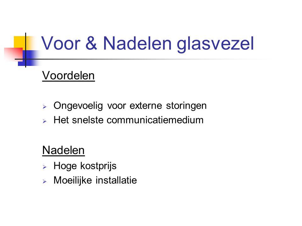 Voor & Nadelen glasvezel Voordelen  Ongevoelig voor externe storingen  Het snelste communicatiemedium Nadelen  Hoge kostprijs  Moeilijke installat