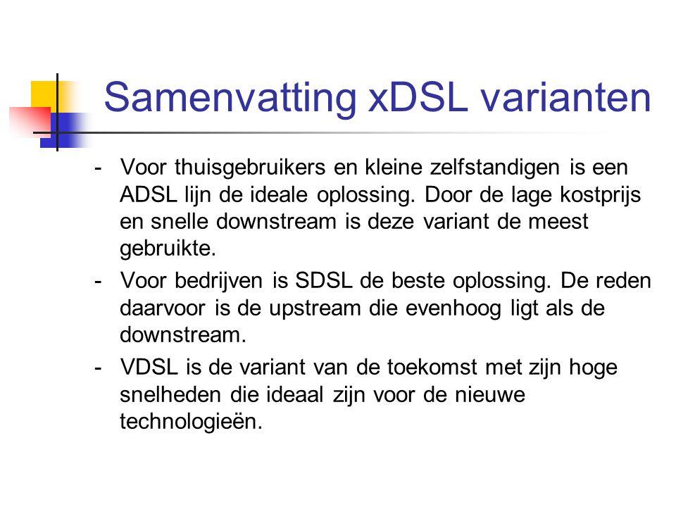 Samenvatting xDSL varianten - Voor thuisgebruikers en kleine zelfstandigen is een ADSL lijn de ideale oplossing. Door de lage kostprijs en snelle down