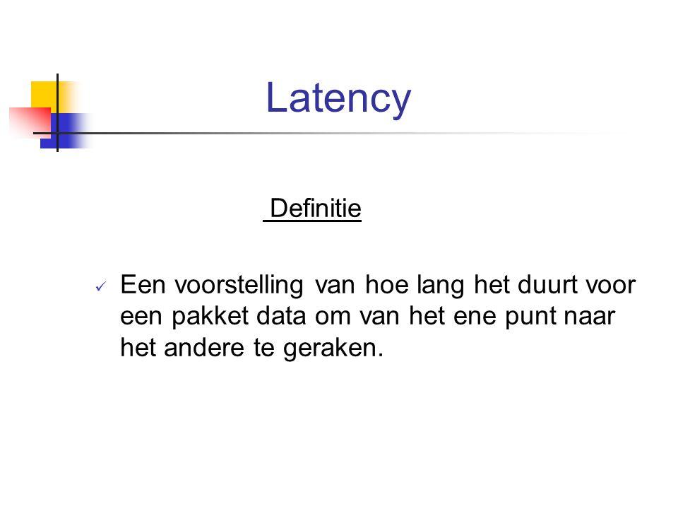 Latency Definitie Een voorstelling van hoe lang het duurt voor een pakket data om van het ene punt naar het andere te geraken.