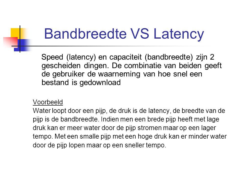 Bandbreedte VS Latency Speed (latency) en capaciteit (bandbreedte) zijn 2 gescheiden dingen. De combinatie van beiden geeft de gebruiker de waarneming
