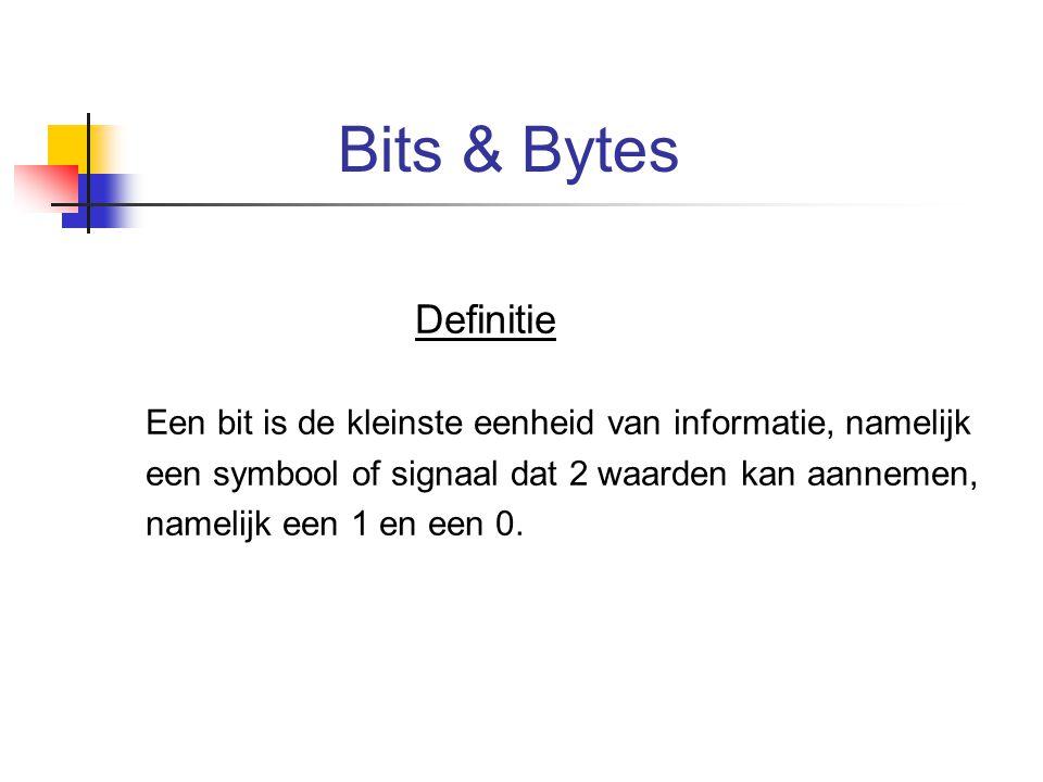 Bits & Bytes Definitie Een bit is de kleinste eenheid van informatie, namelijk een symbool of signaal dat 2 waarden kan aannemen, namelijk een 1 en ee