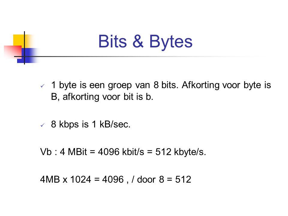 Bits & Bytes 1 byte is een groep van 8 bits. Afkorting voor byte is B, afkorting voor bit is b. 8 kbps is 1 kB/sec. Vb : 4 MBit = 4096 kbit/s = 512 kb