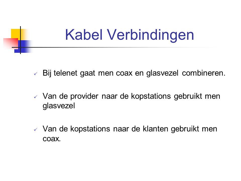 Kabel Verbindingen Bij telenet gaat men coax en glasvezel combineren. Van de provider naar de kopstations gebruikt men glasvezel Van de kopstations na