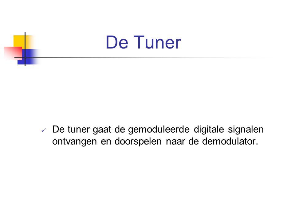 De Tuner De tuner gaat de gemoduleerde digitale signalen ontvangen en doorspelen naar de demodulator.
