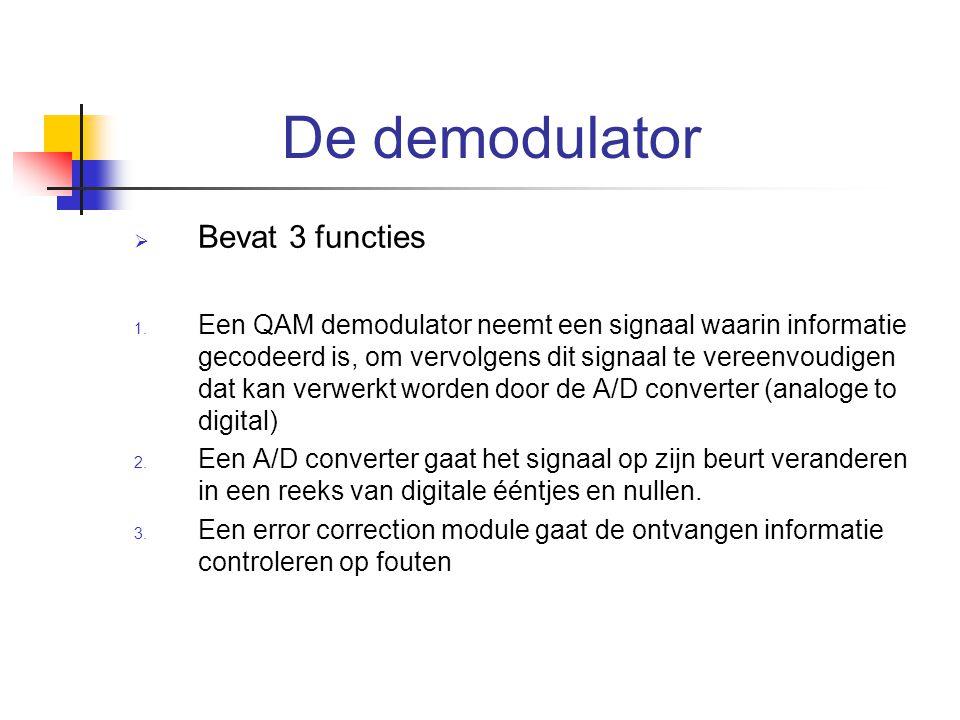 De demodulator  Bevat 3 functies 1. Een QAM demodulator neemt een signaal waarin informatie gecodeerd is, om vervolgens dit signaal te vereenvoudigen