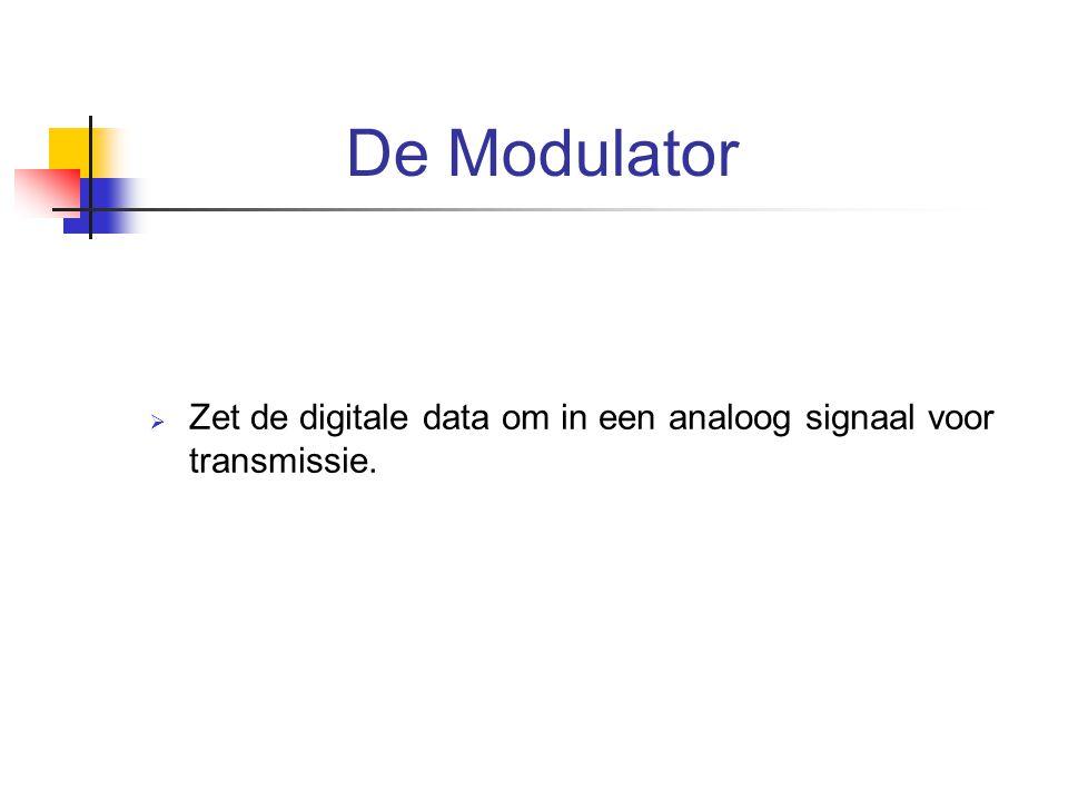 De Modulator  Zet de digitale data om in een analoog signaal voor transmissie.