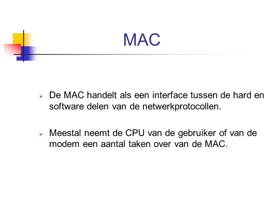MAC  De MAC handelt als een interface tussen de hard en software delen van de netwerkprotocollen.  Meestal neemt de CPU van de gebruiker of van de m
