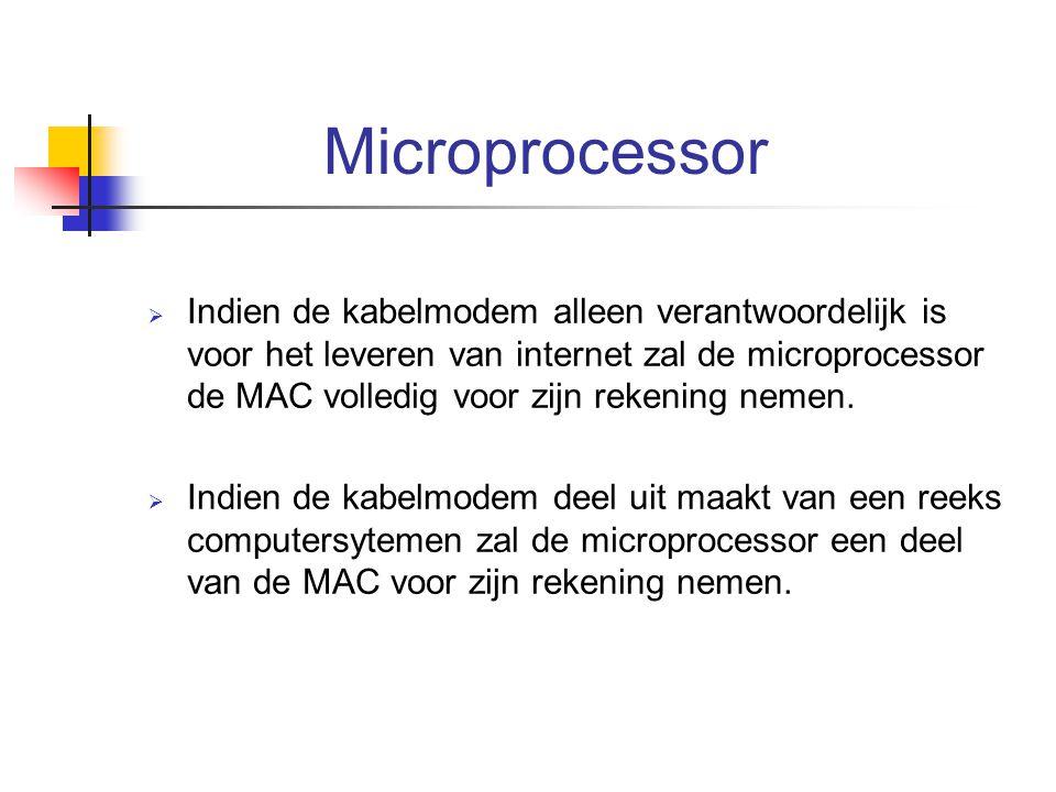 Microprocessor  Indien de kabelmodem alleen verantwoordelijk is voor het leveren van internet zal de microprocessor de MAC volledig voor zijn rekenin
