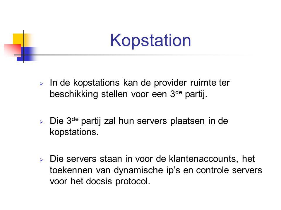 Kopstation  In de kopstations kan de provider ruimte ter beschikking stellen voor een 3 de partij.  Die 3 de partij zal hun servers plaatsen in de k