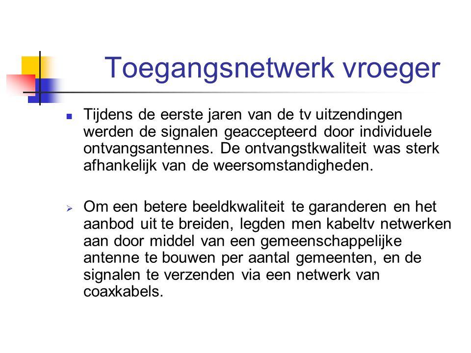 Toegangsnetwerk vroeger Tijdens de eerste jaren van de tv uitzendingen werden de signalen geaccepteerd door individuele ontvangsantennes. De ontvangst