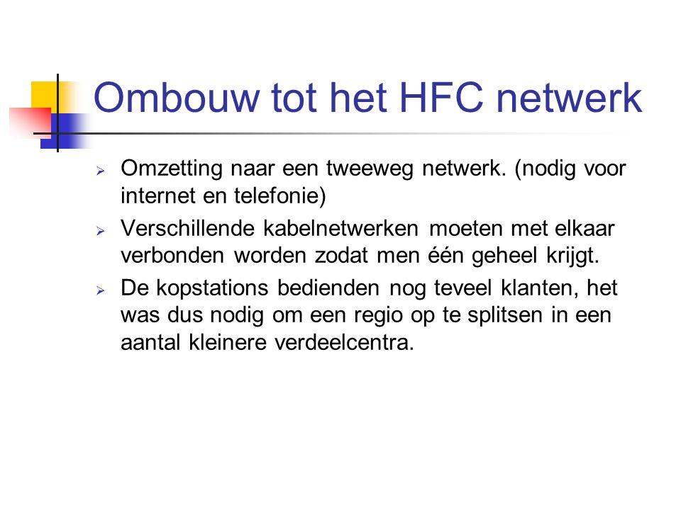 Ombouw tot het HFC netwerk  Omzetting naar een tweeweg netwerk. (nodig voor internet en telefonie)  Verschillende kabelnetwerken moeten met elkaar v