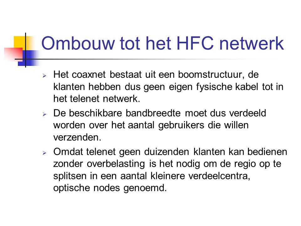 Ombouw tot het HFC netwerk  Het coaxnet bestaat uit een boomstructuur, de klanten hebben dus geen eigen fysische kabel tot in het telenet netwerk. 