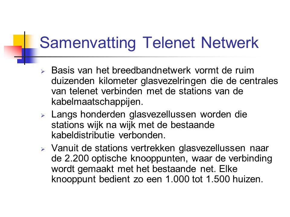 Samenvatting Telenet Netwerk  Basis van het breedbandnetwerk vormt de ruim duizenden kilometer glasvezelringen die de centrales van telenet verbinden