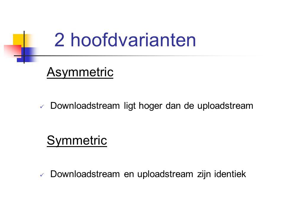 Variant 1 : ADSL Afkorting voor : Assymetric Digital Subscriber Line Behoort tot de assymmetric variant Voorziet een grotere bandbreedte voor downstream ten koste van de upstream.