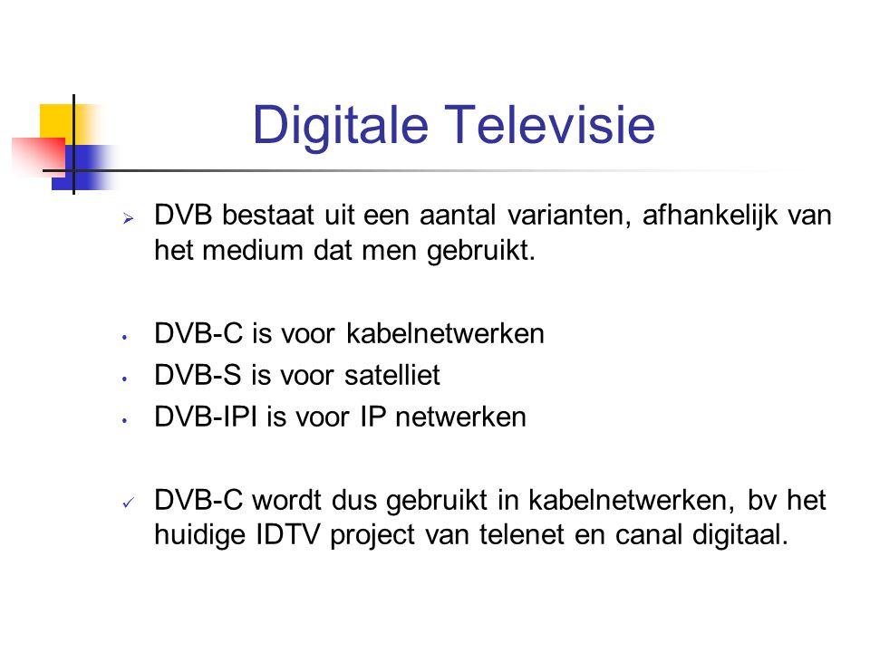 Digitale Televisie  DVB bestaat uit een aantal varianten, afhankelijk van het medium dat men gebruikt. DVB-C is voor kabelnetwerken DVB-S is voor sat