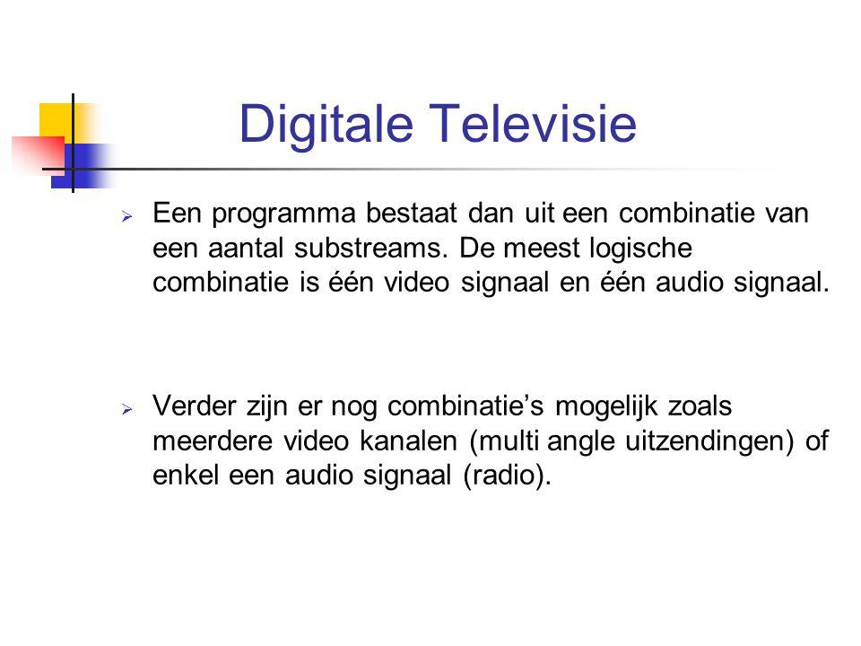 Digitale Televisie  Een programma bestaat dan uit een combinatie van een aantal substreams. De meest logische combinatie is één video signaal en één