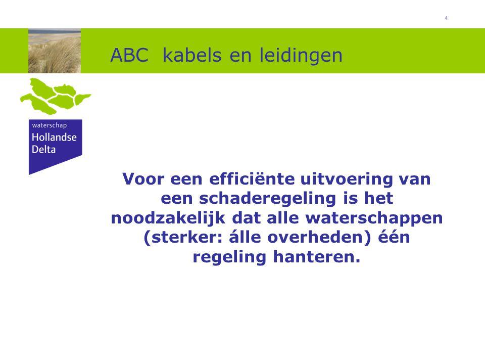 5 ABC kabels en leidingen Als een kabel of leiding ten gevolge van de dijkversterking dient te worden aangepast, dient deze: buiten de beschermingszone te worden gelegd buiten de veiligheidszone te worden gelegd op een door de netbeheerder gewenste plek (ook in de kernzone) te worden gelegd