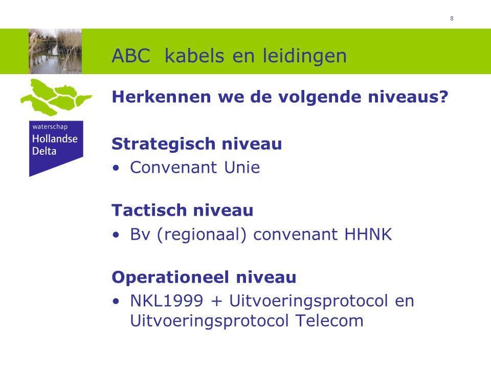 8 ABC kabels en leidingen Herkennen we de volgende niveaus? Strategisch niveau Convenant Unie Tactisch niveau Bv (regionaal) convenant HHNK Operatione
