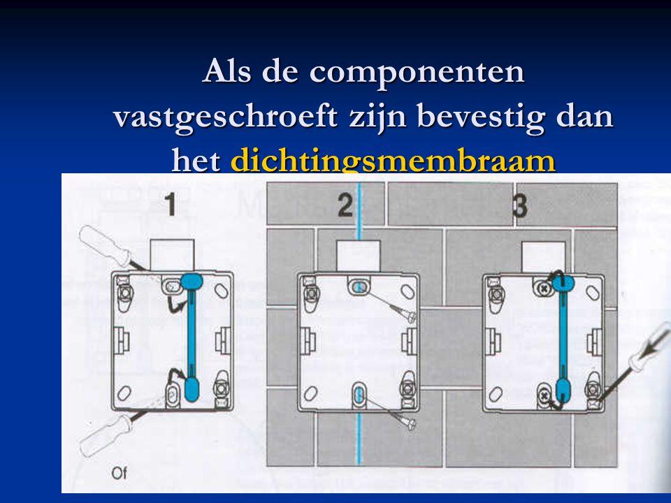 Als de componenten vastgeschroeft zijn bevestig dan het dichtingsmembraam dichtingsmembraam