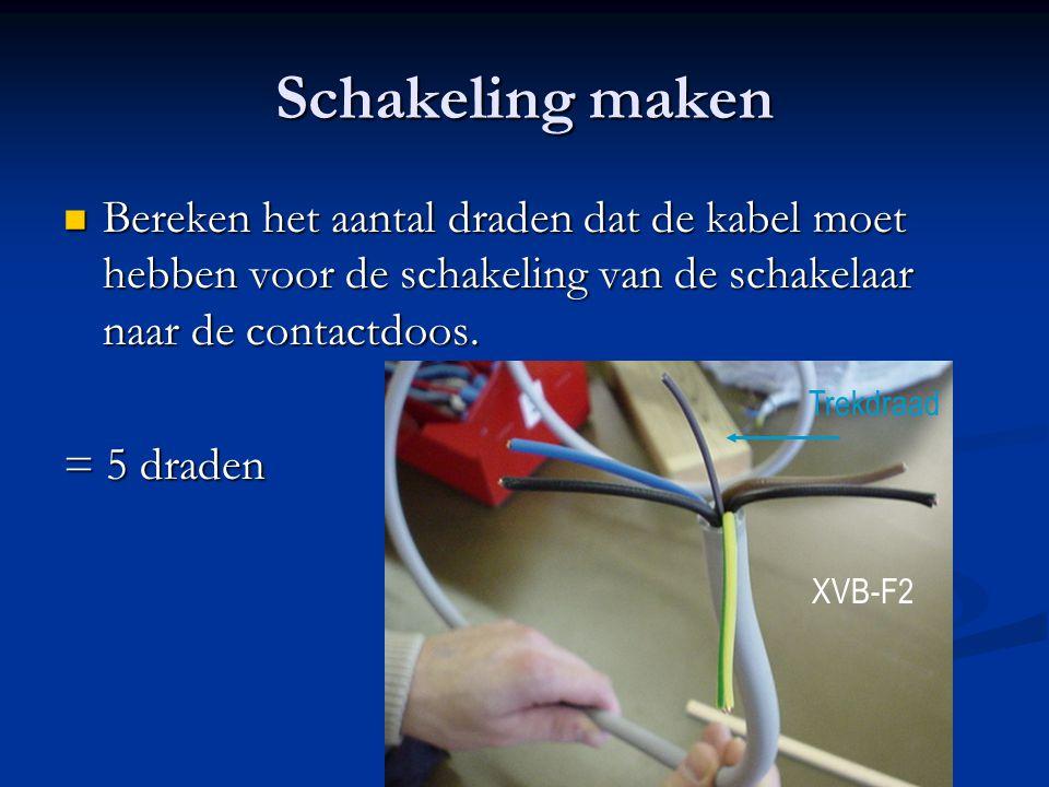 Schakeling maken Bereken het aantal draden dat de kabel moet hebben voor de schakeling van de schakelaar naar de contactdoos. Bereken het aantal drade