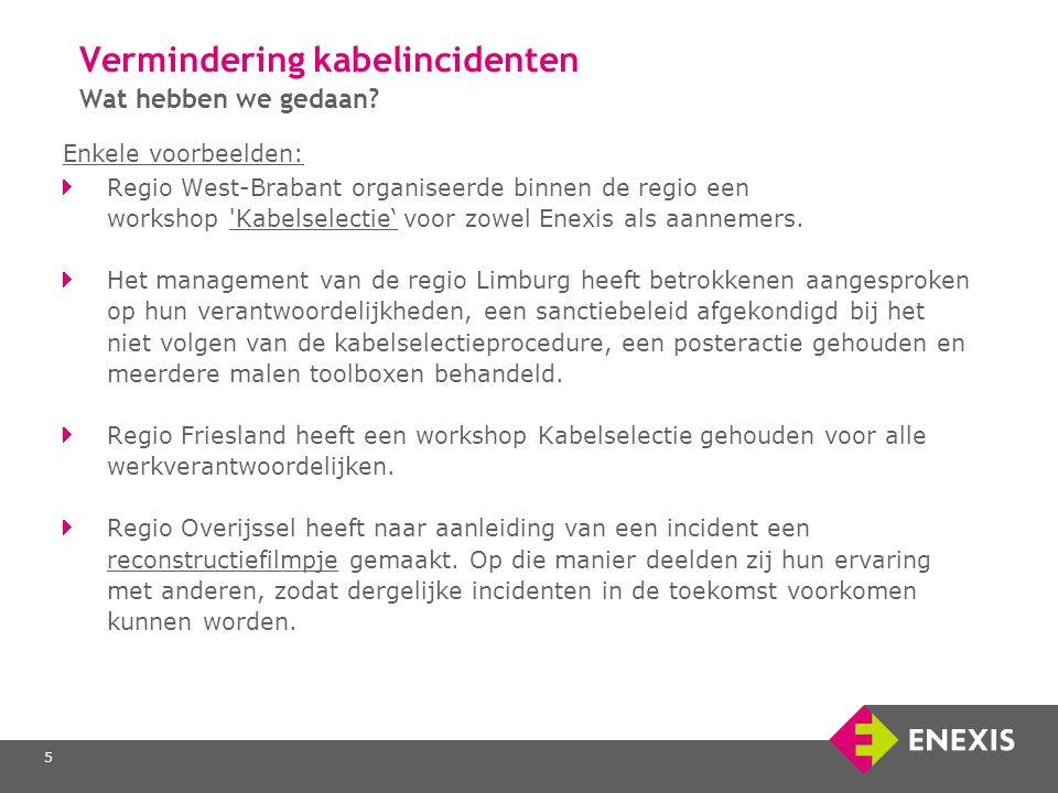 5 Vermindering kabelincidenten Wat hebben we gedaan? Enkele voorbeelden: Regio West-Brabant organiseerde binnen de regio een workshop 'Kabelselectie'