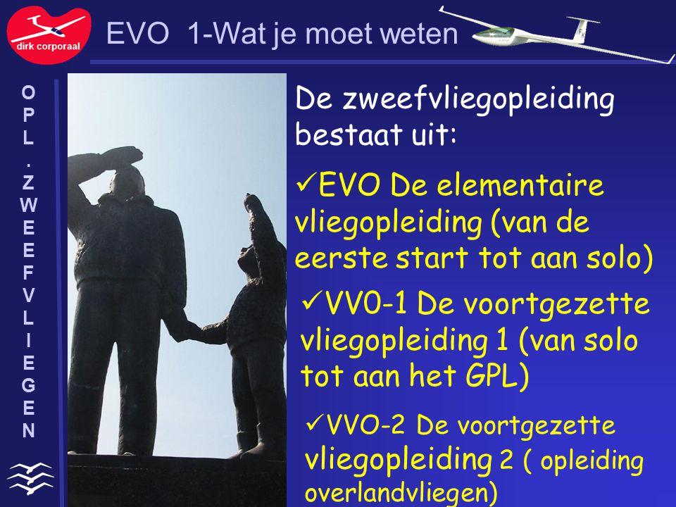 EVO 1-Wat je moet weten De zweefvliegopleiding bestaat uit: EVO De elementaire vliegopleiding (van de eerste start tot aan solo) VV0-1 De voortgezette